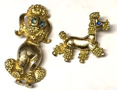 Vintage Lot of Two Fancy Poodle Dog Gold Tone Brooch Pins Jewelry