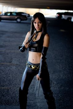 Karen - X-23 Cosplay.  Black faux leather fabric available at: www.MJTrends.com