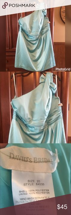 BRAND NEW David's Bridal One Shoulder Dress/Prom BRAND NEW David's Bridal One Shoulder Dress/Prom, sky blue color (Malibu), never worn, tag says 20 but best for a size 18. Smoke/Pet Free Home. David's Bridal Dresses Prom