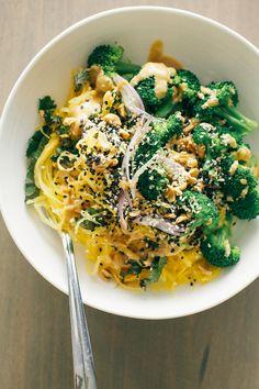 spaghetti squash noodle bowl + lime peanut sauce // via @thefirstmess