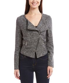 $44.99 Black & White Tweed Moto Jacket #zulily #zulilyfinds