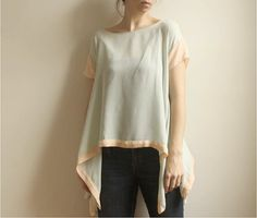 peach & seafom silk georgette blouse $84 from Leanimal on Etsy
