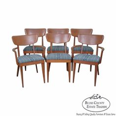 Heywood Wakefield Champagne Mid Century Modern Maple Set of 6 Dining Chairs #MidCenturyModern
