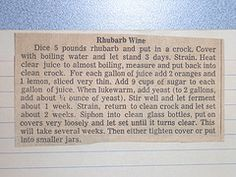 Does anyone have an old fashioned rhubarb wine recipe that doesn't require a bunch of goofy ingredient's?