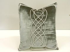 Lord of the Rings inspired pattern on Pillow, gray blue Velvet: AR-01 Gray Blue. $65.00, via Etsy.