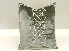 Lord of the Rings inspired pattern on Pillow,  gray blue Velvet:  AR-01 Gray Blue.
