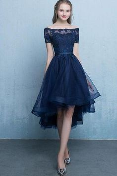 5200fb38784 Dark Blue Lace Tulle Short Sleeve High Low Round Neck A-Line Short Prom  Dresses