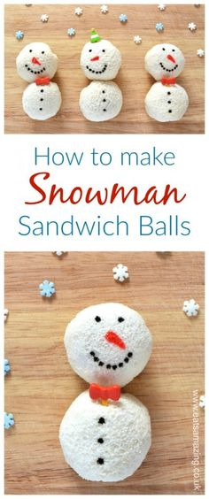 Cute Christmas food idea for kids - snowman sandwich balls - fun food tutorial from Eats Amazing UK