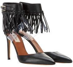 Valentino C-rockee Leather Fringe Ankle-strap Black Pumps. Get the must-have pumps of this season! These Valentino C-rockee Leather Fringe Ankle-strap Black Pumps are a top 10 member favorite on Tradesy. Save on yours before they're sold out!