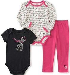 Calvin Klein Baby Girls' Long/Short Sleeve Creeper with Pants Hot Pink 6/9 Months