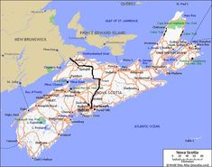 Directions from Sackville, New Brunswick, traveling through Amherst, Oxford and Truro