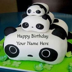 Happy Birthday Cute Panda Cake For Kids With Your Name