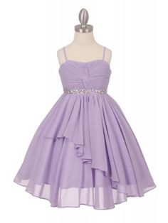 Lilac Beautiful Hand Twist Chiffon Flower Girl dresses (Size 4 to 16)