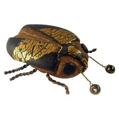 Vintage Joyce Fritz LadyBug Brooch Artisan Figural from Suzy's Timeless Treasures on Ruby Lane