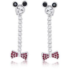 Disney Minnie Mouse Bow Drop Earrings ($47) ❤ liked on Polyvore featuring jewelry, earrings, sparkle jewelry, sparkly earrings, bow jewelry, disney jewellery and disney jewelry