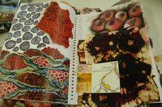Ellisha Willis DHSFG Textiles Textiles Sketchbook, Gcse Art Sketchbook, Fashion Sketchbook, A Level Textiles, Art Alevel, Coral Art, Creative Textiles, Mushroom Art, A Level Art