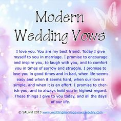 Modern Wedding Marriage Vows - Sample Vow Examples