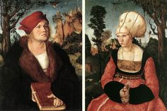 Cranach, double portrait,the marriage of Johannes Cuspinian and Anna,the continuity of the landscape shows the images create one image, the various images in the backgrouns disguise hieroglyphic allusions to the cabbala.parrot on the tree, given to Anna Cuspinian as an attribute, is a sign of the innocence and purity associated with Mary.