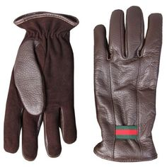Gucci Guanti Brown Leather Gloves (€270) ❤ liked on Polyvore featuring mens, men's accessories and men's gloves