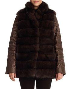 TD4KV Gorski Reversible Sable Fur Vest & Puffer Jacket, Brown