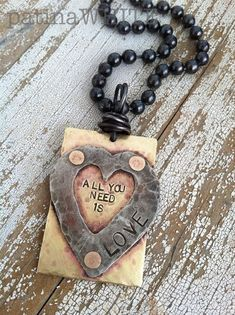 all you need is LOVE mixed metal HANDforged necklace Copper Necklace, Copper Jewelry, Clay Jewelry, Jewelry Crafts, Jewelry Necklaces, Jewlery, Geek Jewelry, Gothic Jewelry, Pendant Necklace