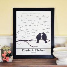 Lovebirds Canvas Signature Guest Book