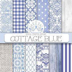 """Shabby chic Digital Paper: """"COTTAGE BLUE"""" with blue patterns china blue blue damask wood burlap for planner cards scrapbooking Burlap Background, Planners, Shabby Chic, Wood Texture, Blue Texture, Color Harmony, Blue China, How To Distress Wood, Blue Patterns"""