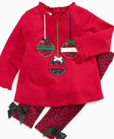 First Impressions Baby Set, Baby Girls Christmas Tunic and Legging Set