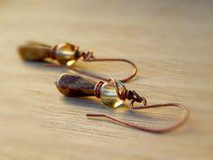 Czech picasso earrings rustic - copper brown beige tan, dangle wire wrapped copper oxidized by Gendrea on Etsy https://www.etsy.com/listing/158923564/czech-picasso-earrings-rustic-copper