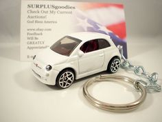 2011 2012 2013 2014 FIAT 500 Coupe White Key FOB Keyring Keychain in Collectibles, Transportation, Automobilia | eBay