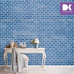 3D poster duvar kağıdı ile evinizde mavi tuğla görünümlü duvar elde etmek çok kolay!
