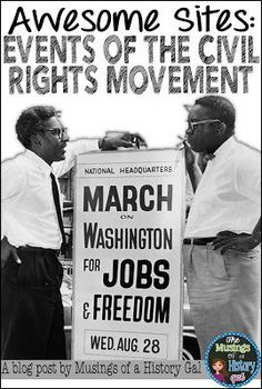 Helpful Websites for Important Events During the Civil Rights Movement 6th Grade Social Studies, Social Studies Classroom, Social Studies Activities, High School Classroom, Movement Activities, Teaching Social Studies, High School Students, Student Learning, Classroom Teacher