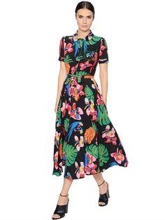 VALENTINO - TROPICAL PRINT SILK CREPE DE CHINE DRESS - DRESSES - MULTICOLOR - LUISAVIAROMA - 2450€