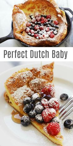 Dutch Baby - perfect and fail-proof Dutch Baby Pancake recipe that calls for onl. - Dutch Baby – perfect and fail-proof Dutch Baby Pancake recipe that calls for only 5 basic ingredi - Dutch Baby Pancake, Dutch Pancakes, Baby Pancakes, Pancakes And Waffles, Baby Food Recipes, Dessert Recipes, Cooking Recipes, Healthy Recipes, Dutch Desserts