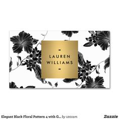 Elegant Black Floral Pattern 4 with Gold Name Logo Business Cards