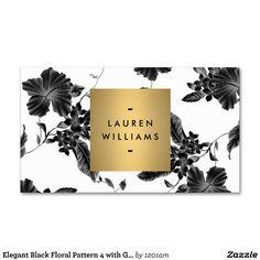 Elegant Black Floral Pattern 4 with Gold Name Logo Business Cards