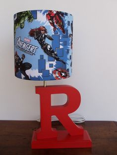 Handmade Avengers Superhero Theme Drum Lamp by PerrelleDesigns