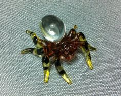 Hand Blown Glass Tarantula Tiny Animal Cute by thaicraftvillage