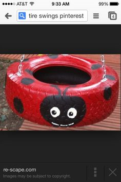 Sweet lady bug tire swing:) I plan to twist this idea and paint our old tires to use as adorable planters. Outdoor Projects, Diy Projects, Project Ideas, Old Tires, Car Tyres, Ideias Diy, Homemade Gifts, Kids Playing, Cool Kids