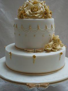 Golden Wedding Anniversary Cake  By ScrummyMummy CakesDecorcom