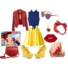 Pin Up Snow White by tazilove on Polyvore featuring Ally Fashion, Philipp Plein, N'Damus, Tiffany & Co., American Eagle Outfitters, Lime Crime, Incoco, snowwhite and pinup