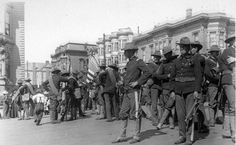 1st California Volunteer Infantry Regiment heading to the Presidio, May 7, 1898.