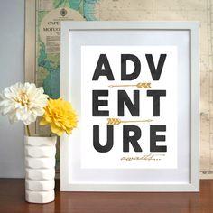 Adventure awaits (w/ arrows) - GOLDEN Accent ART PRINTS
