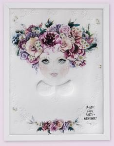 Fine art print One Sonny Day. Australian kids and children's art. Soft pink flower crown, lilac floral headdress, delicate antique lace embossing, daisy, collar top, wildflower, wildflower art. Perfect for wall art, little girls bedroom deco, children kids gifts, christening, baby shower, christmas present. Water colour, painting, quote