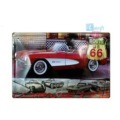 30 X 20cm Art Bar Wall Decor Metal Tin Sign Route US 66 Chevrolet Corvette