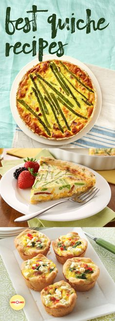 For a light dinner or a hearty brunch, nothing beats quiche: easy to whip up and impressive to bring to the table. From summer veggies to Mexican themed to pizza, there are so many creative options to choose from! Quiches, Best Quiche Recipes, Brunch Recipes, Dinner Recipes, Breakfast Dishes, Breakfast Recipes, Breakfast Club, Breakfast Casserole, Recipe Land