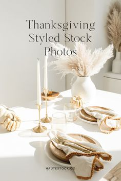 Fall styled stock photos for female entrepreneurs from Haute Stock Thanksgiving tablescape with candles, pumpkins, napkins, plates, glasses and dried wheat. #hautestock #fall #fallinspo #autumn #stockphotography #lifestyle #workspace #femaleentrepreneur #branding #blogging #socialmedia #thanksgiving Thanksgiving Post, Thanksgiving Fashion, Thanksgiving Tablescapes, Fall Party Invitations, Thanksgiving Invitation, Warm Autumn, Neutral Palette, Pumpkins, Decor Styles