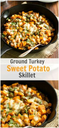 A healthy gluten free Ground Turkey Sweet Potato Skillet meal is packed with…