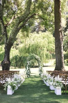 White Meadowood Wedding - outdoor wedding ceremony wedding ceremony ideas We Think Outdoor Weddings Are Worth the Extra Work – Here's Why Wedding Ceremony Ideas, Reception Ideas, Wedding Venues, Reception Activities, Wedding Ceremonies, Wedding Locations, Wedding Aisles, Arch Wedding, Wedding Scene