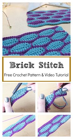 Crochet Blanket Patterns Brick Stitch Free Crochet Pattern and Video Tutorial - This Brick Stitch Free Crochet Pattern is special and beginner friendly. You can learn the Brick stitch in a Photo and Video Tutorial very easily. Crochet Stitches For Beginners, Crochet Stitches Patterns, Stitch Patterns, Knitting Patterns, Baby Afghan Patterns, Free Knitting, Crochet Afghans, Tunisian Crochet, Crochet Blankets